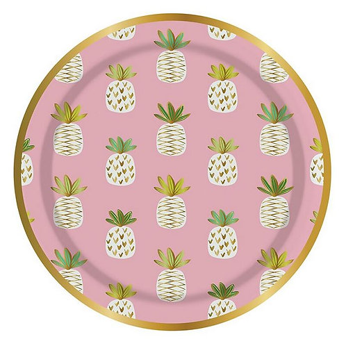 #10015 Pink Pineapple Paper Plates