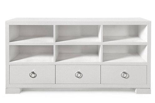 #2347 White Grasscloth AV Cabinet