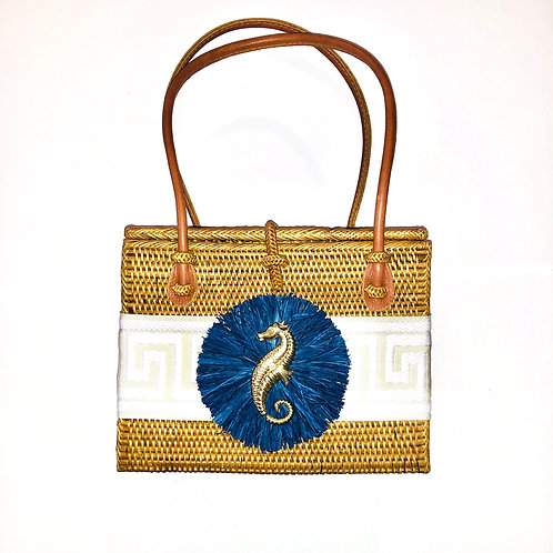 #10018 Greek Key Navy Raffia Seahorse Bag