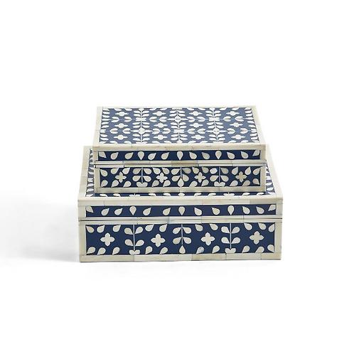 #10876 Small Navy Floral Bone Inlay Box