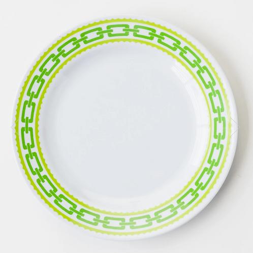 #8085 Green Chain Melamine Dinner Plate, Set of 6