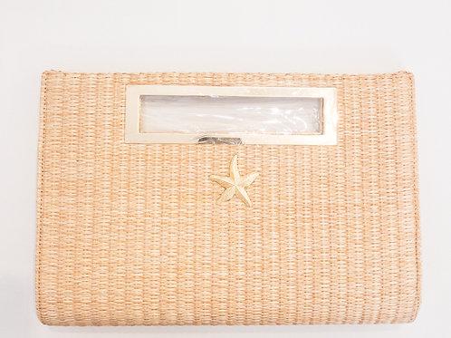 #12011 Straw Starfish Clutch