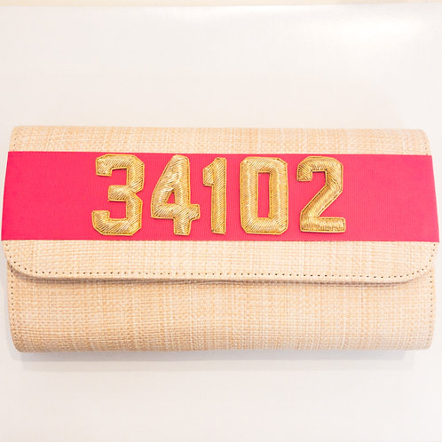 #19974 34102 Straw Hot Pink Clutch