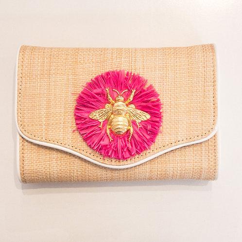 #10814 Bee Pink Raffia Clutch