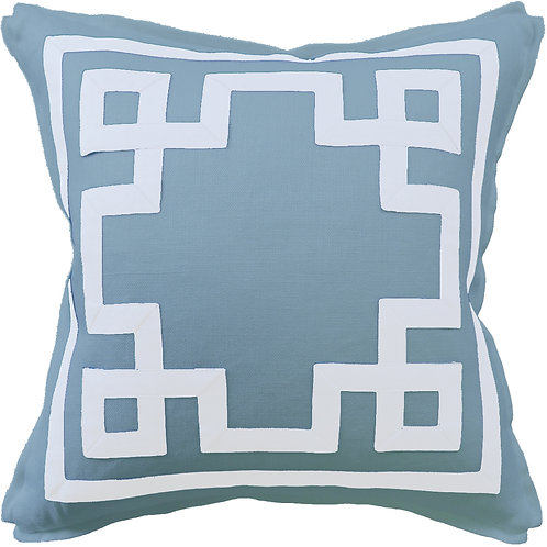 #9657 Fretwork Pillow-Azure Blue/White