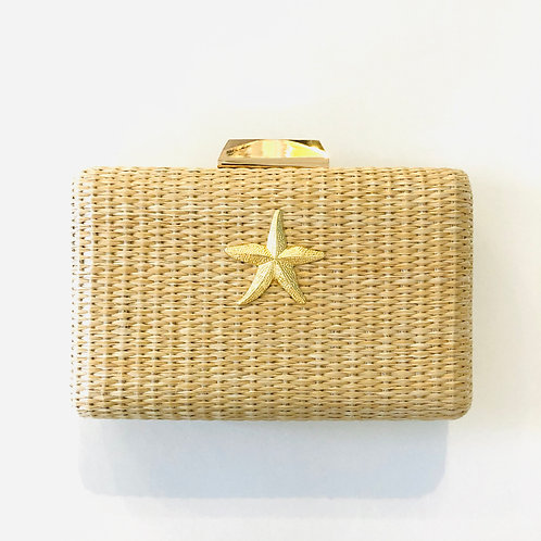 #10024 Mimi Starfish Straw Clutch