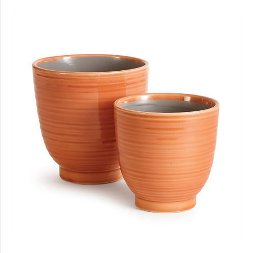 #11467 SM Orange Glazed Planter