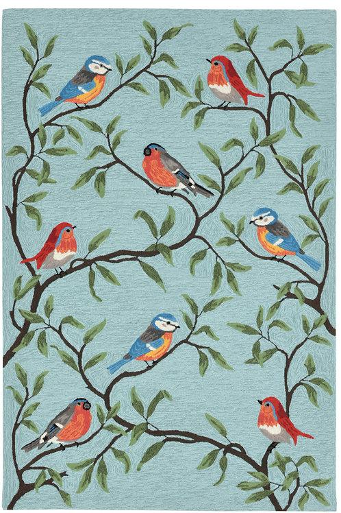 #11070 Aqua Bird on Branch Rug