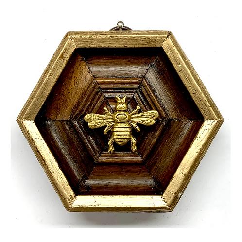 #9882 Wooden Hexagon Frame with Italian Bee