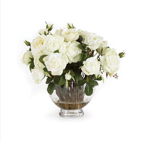 #10463 XL White Garden Rose Arrangement in Vase
