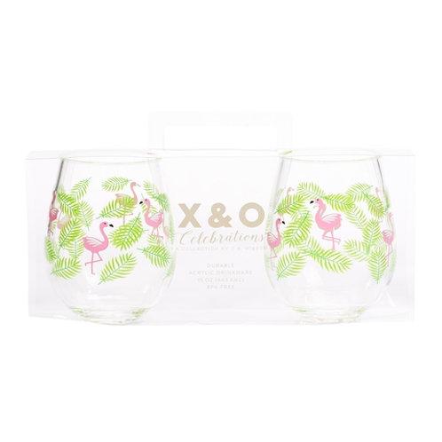 #9896 Stemless Flamingo Glass Set