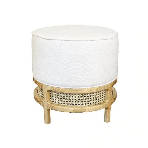 #10503 White Linen Cushion Stool
