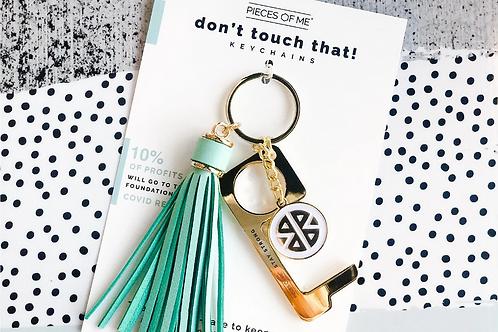 #9808 Don't Touch That! Keychain, Aqua Tassel