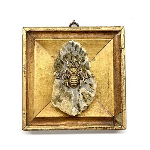 #10676 Gilt Frame w/Grande Bee on P[etrified Wood Piece