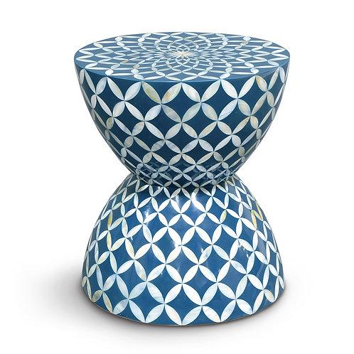 #2323 Inlaid shell hourglass stool