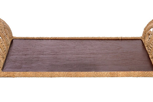 #11845 Wood & Woven Seagrass Tray