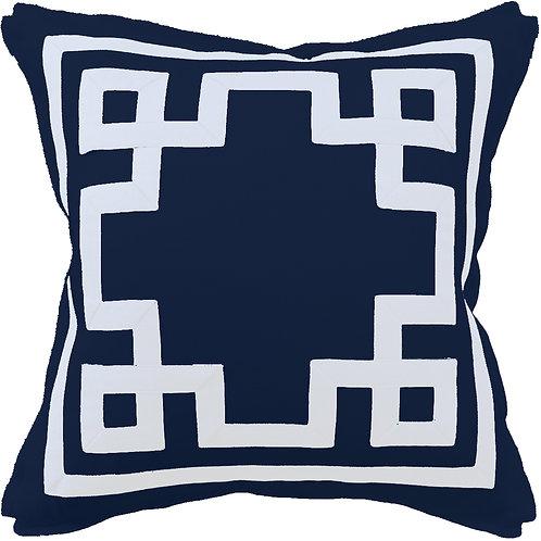 #9658 Fretwork Pillow-Pacific Blue/White