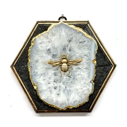 #10640 Bourbon Barrel Frame w/Italian Bee on Agate