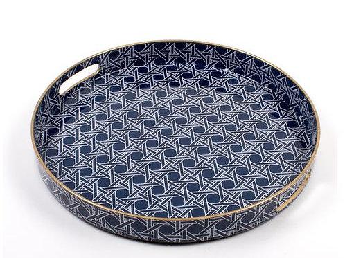 #10281 Blue Cane Round Tray