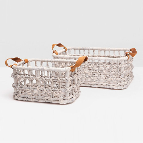 #10272 White Woven Basket with Leather Handles