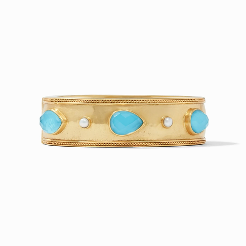 #10386 Cassis Statement Hinged Bangle - Iridescent Pacific Blue
