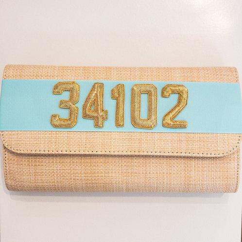 #19975 34102 Straw Tiffany Blue Clutch