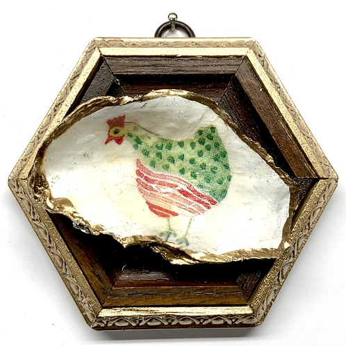 #11511 Wooden Frame w/ Funky Chicken Oyster Shell (Green)