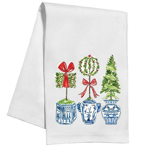 #10145 Holiday Topiary Trio Tea Towel