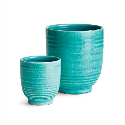 #11462 SM Glazed Turquoise Planter