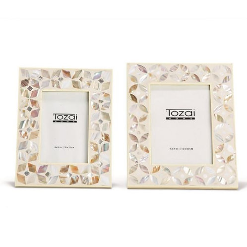 White Flower Inlay Frame