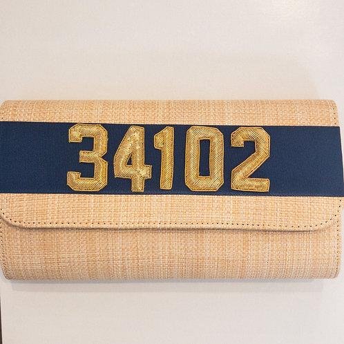#11980 34102 Straw Navy Clutch