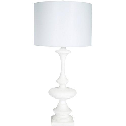 #11889 Gesso Lamp w/Linen Shade