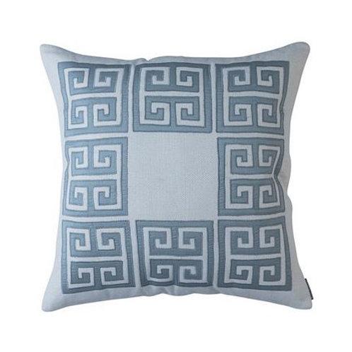 #12160 Velvet Greek Key Pillow (Blue)
