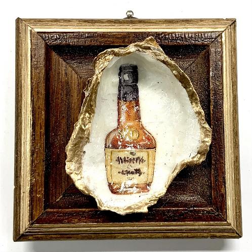 #11514 Wooden Frame w/ Bourbon Bottle Oyster Shell