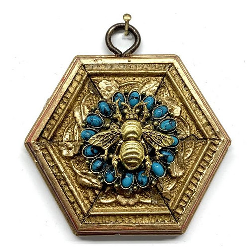 #12329 Gilt Frame with Grande Bee on Turquoise Brooch