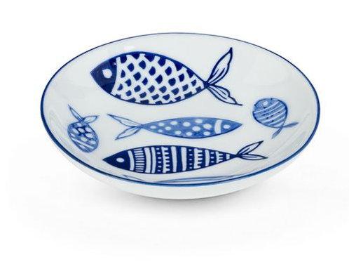 #10099 Blue Fish Shallow Dish