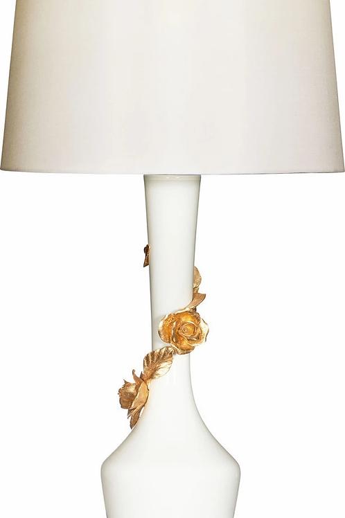 #10494 Gold & White Rose Lamp