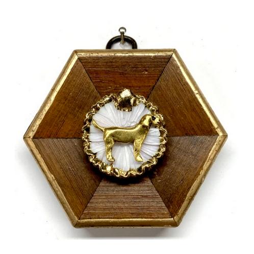 #10632 Wooden Frame w/Dog on Brooch