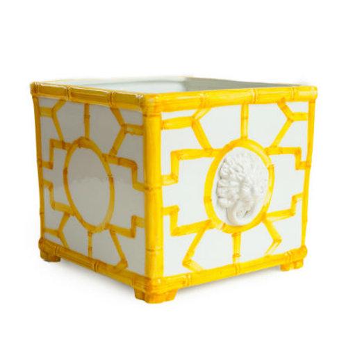#4087 Yellow Bamboo Fretwork Cachepot