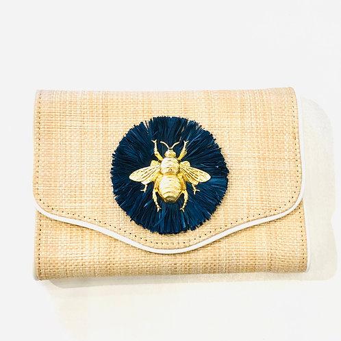 #10039 Bee Navy Raffia Clutch