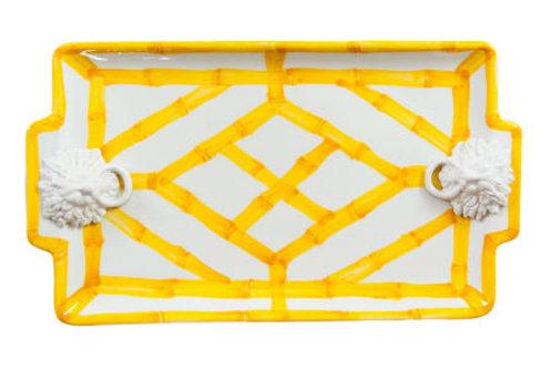 #4092 Yellow Bamboo Rectangle Platter