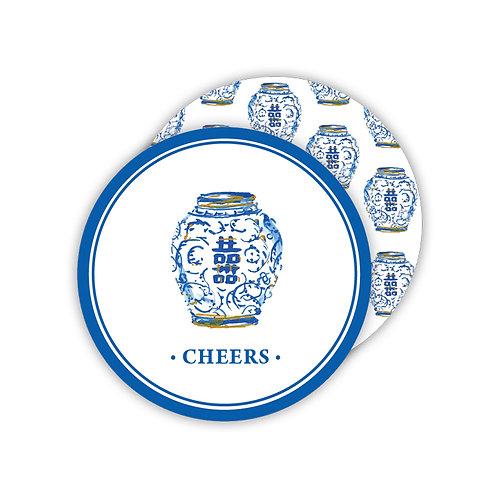 #11774 Cheers Blue Ginger Jar Coaster