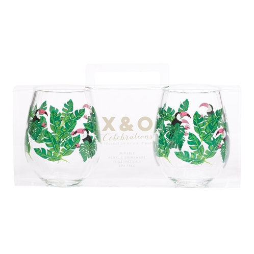 #9897 Stemless Toucan Glass Set