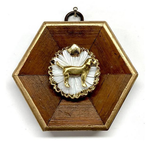 #11322 Wooden Frame w/Dog on Brooch