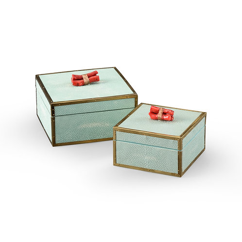 Sea Mist Faux Shagreen Coral Lidded Boxes