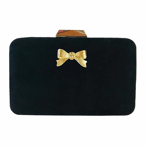 #10808 Mimi Black Clutch (Bow)