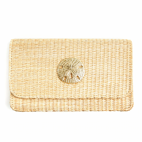 #10811 Ruby Straw Clutch (Sand Dollar)