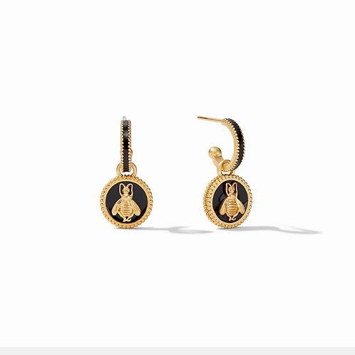 #11958 Bee Cameo Hoop & Charm Earring (Obsidian Black)
