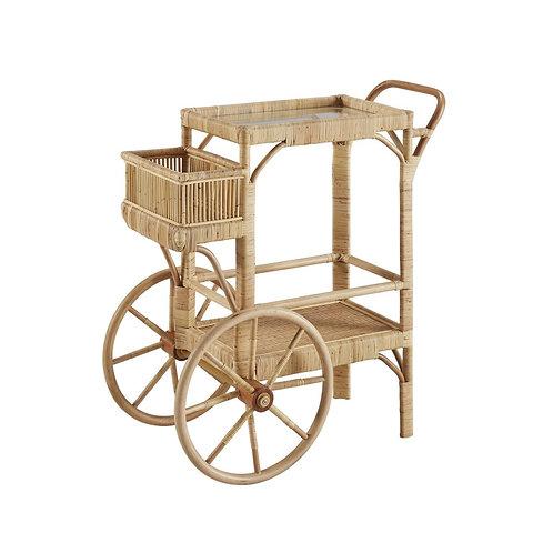 #10792 Rattan Bar Cart