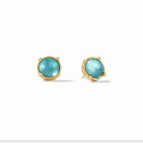 #10913 Calypso Hoop & Charm Earring - Iridescent Bahamian Blue